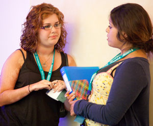juvenile scleroderma patients talking at conference